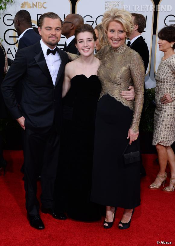Leonardo Dicaprio, Emma Thompson et la fille de cette dernière à la 71ème cérémonie des Golden Globes, édition 2014.