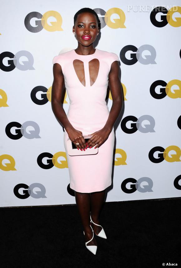 Lupita Nyong'o, divine dans une robe rose poudré à la soirée GQ.