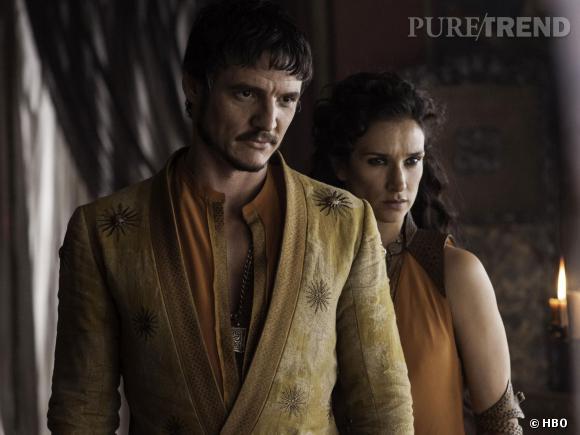 "Pedro Pascal joue Oberyn Martell et Indira Varma en Ellaria Sand dans ""Game of Thrones"" saison 4."