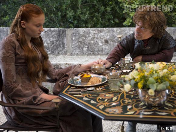 "Sophie Turner (Sansa Stark) et Peter Dinklage (Tyrion Lannister), couple maudit de ""Game of Thrones"" saison 4."