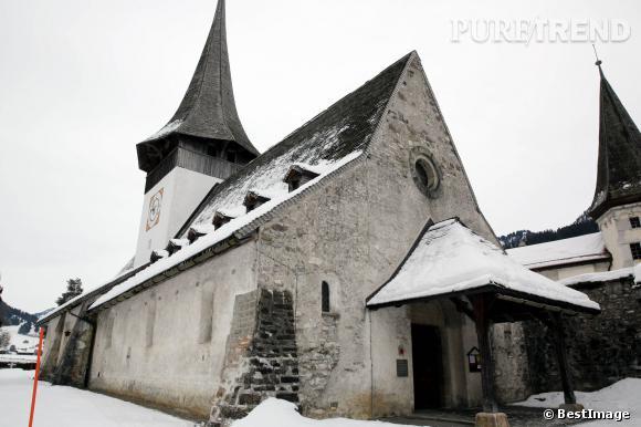 L'église de Rougemont à Gstaad, où se sont mariés Tatiana et Andrea le 1er février 2014.