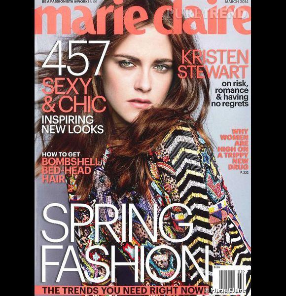 Kristen Stewart fait la couverture de mars 2014 de Marie Claire, elle s'y confie sur ses envies de tomber amoureuse, d'avoir des enfants et ses projets futurs.