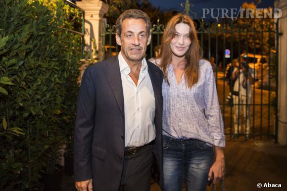 Carla Bruni et Nicolas Sarkozy, chamailleries de couple et petite mise au point en coulisses du concert de la chanteuse à Cannes, le 14 février 2014.