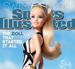 "Barbie, en couverture de l'édition du 50ème anniversaire du magazine ""Sports Illustrated Swimsuit""."