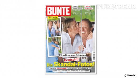 """Le Bunte publie """"les photos du scandale"""" sur lesquelles on voit la Princesse Charlène de Monaco en compagnie d'un autre homme."""