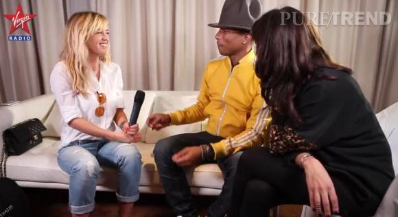 Enora Malagré, groupie prête à séduire face à Pharrell Williams pour Virgin Radio.