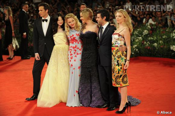 Madonna, Andrea Riseborough, Abbie Cornish, Natalie Dormer, James D'Arcy et Oscar Isaac à La Mostra de Venis en 2011.