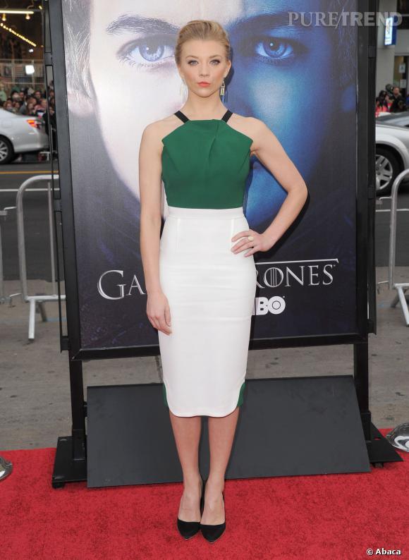 """Natalie Dormer apporte une touche de couleur émeraude lors d'une soirée """"Game of Thrones"""" en mars 2013."""