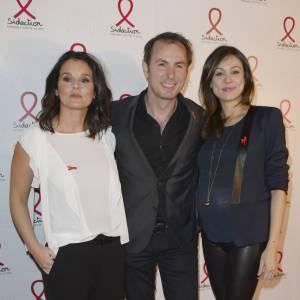 Faustine Bollaert, Jean-Philippe Doux et Marie-Ange Casalta à la soirée du Sidaction le 10 mars 2014.