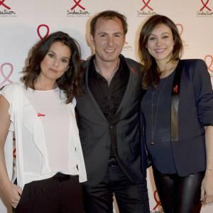L'équipe de 100% Mag sur M6 : Faustine Bollaert, Jean-Philippe Doux et Marie-Ange Casalta à la soirée du Sidaction le 10 mars 2014.