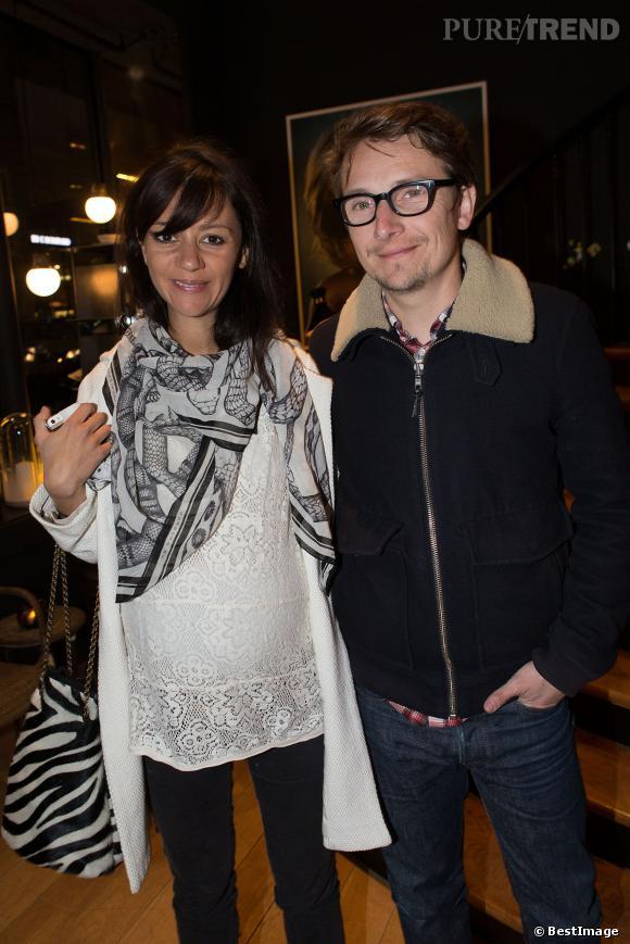 Lorànt Deutsch et sa femme Marie-Julie Baup au lancement du livre de l'actrice Gwendoline Hamon lundi 10 mars 2014 à Paris.