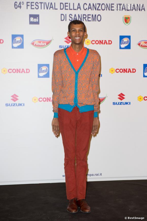 Stromae au festival de la chanson de Sanremo le 22 février 2014.