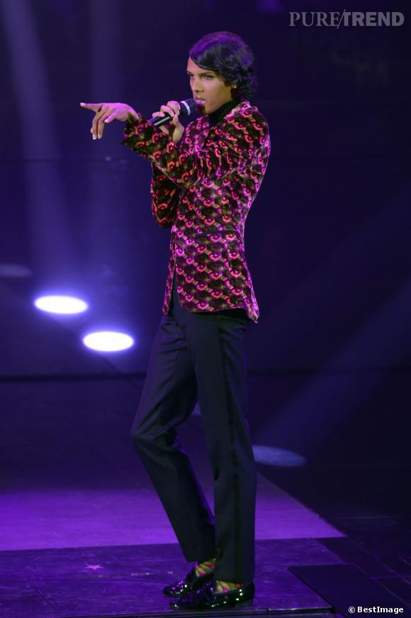 """Stromae à l'enregistrement de l'émission télé """"Che tempo che fa"""" à Milan en Italie, le 19 février 2014."""