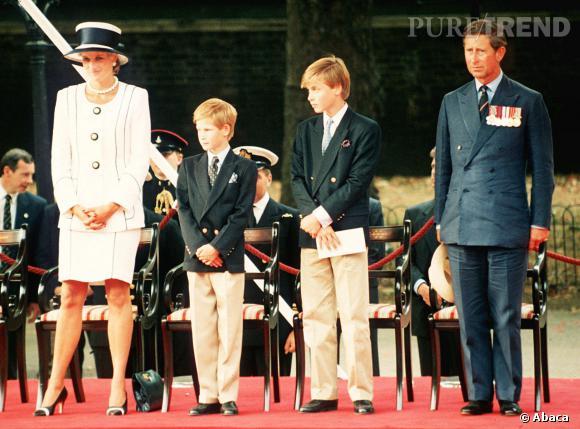La Princesse Diana, les princes Harry, William et Charles dans les années 90.
