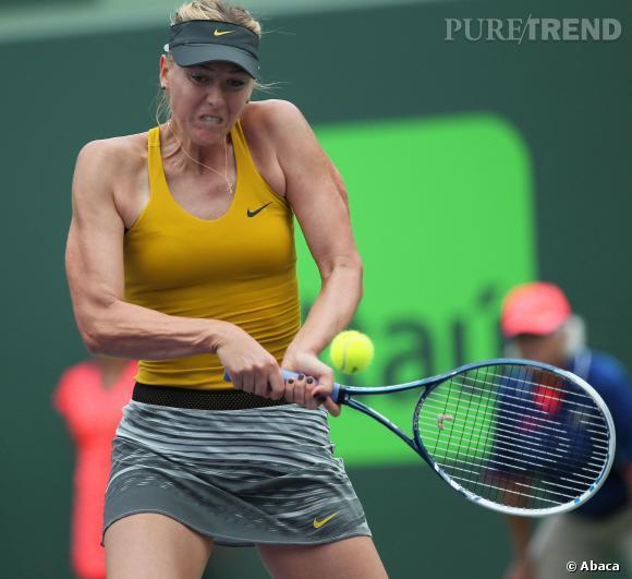 Maria Sharapova, en plein match contre la Belge Kirsten Flipkens.