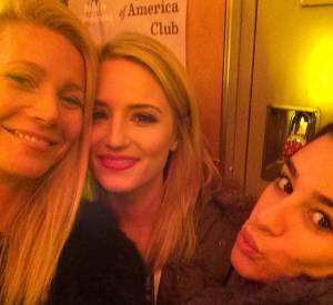 Gwyneth Paltrow aux côtés de Dianna Agron et Lea Michele en mars 2014.