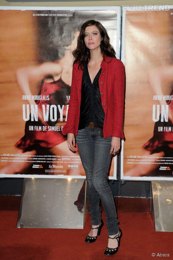 """Anna Mouglalis, décontractée lors de l'avant-première du film """"Un Voyage"""", le 11 avril 2014."""