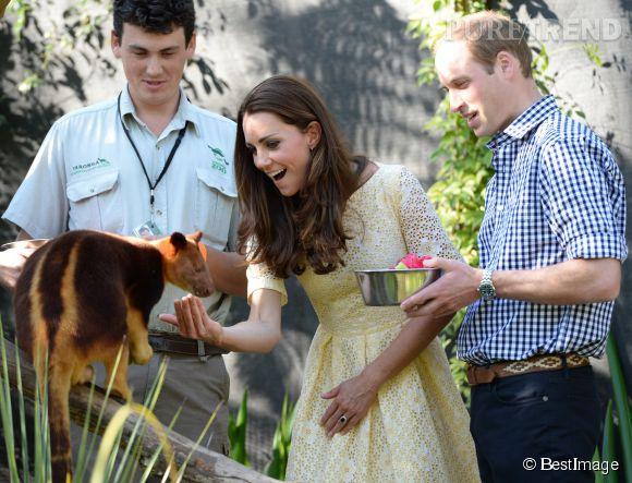 Catherine Middleton et son mari le prince William ont d'abord visité le zoo à deux, le dimanche 20 avril 2014 à Sydney.