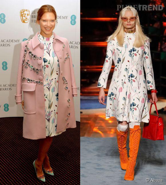 Léa Seydoux et le mannequin du défilé Miu Miu : la robe à imprimé floral collection printemps-été 2014.