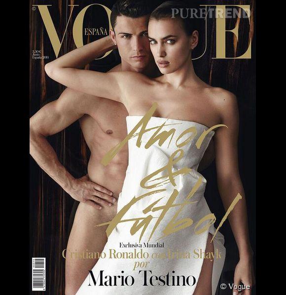 Cristiano Ronaldo et Irina Shayk en cover de Vogue Espagne de juin 2014.