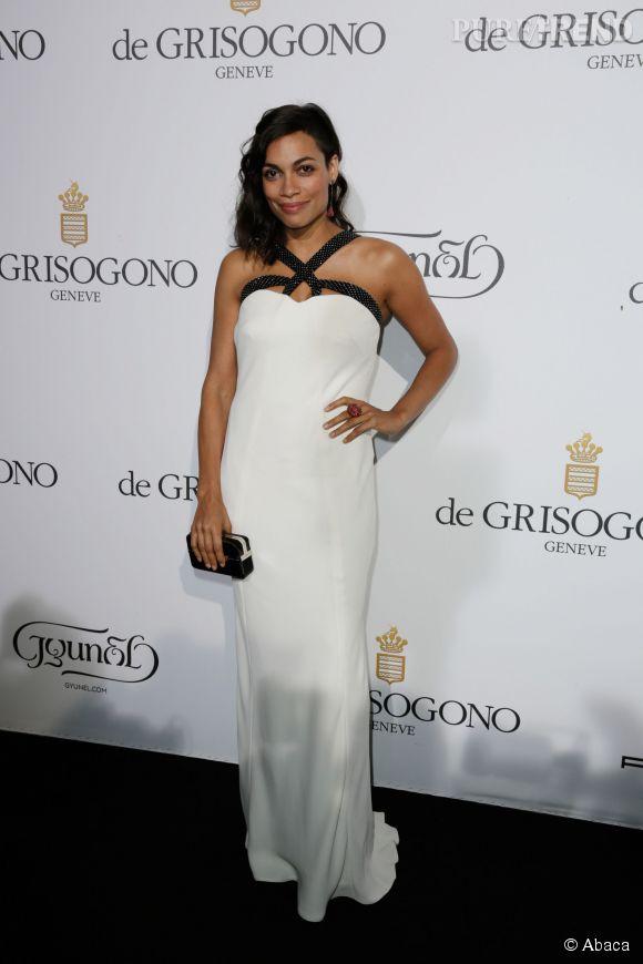 Rosario Dawson en Giorgio Armani parée par Montblanc à la soirée de Grisogono le 20 mai 2014 à Cannes.