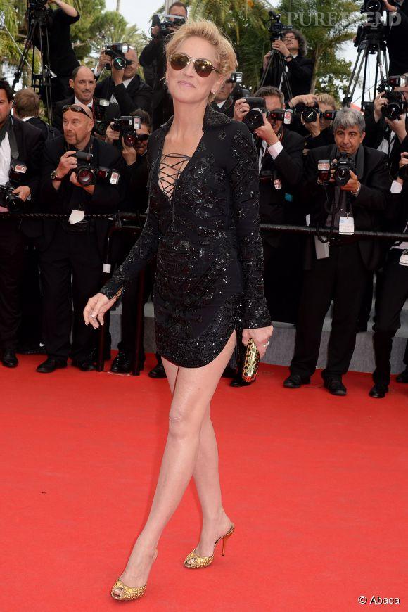 """Sharon Stone en robe Emilio Pucci lors de la montée des marches du film """"The Search"""" ce mercredi 21 mai 2014."""