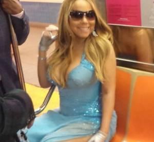 Mariah Carey en robe fendue et décolletée... dans le métro !