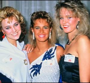 Nathalie Marquay entre Miss Finland et Miss Allemagne en 1987.