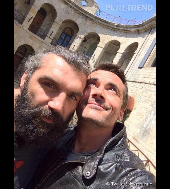 """Olivier Minne et Sébastien Chabal pour """"Fort Boyard""""."""