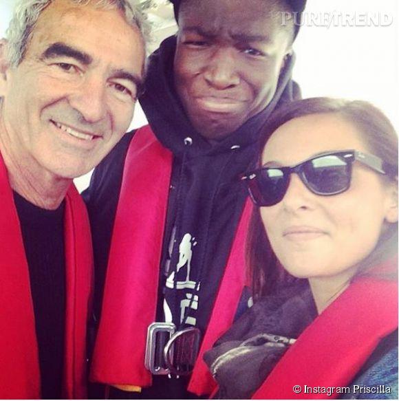 "Priscilla, selfie avec Raymond Domenech et Stéphane Bak durant l'aventure ""Fort Boyard""."
