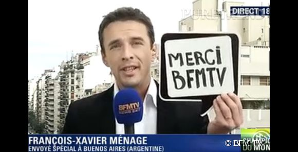 François-Xavier Ménage fait ses adieux à BFM TV le 14 juillet 2014.