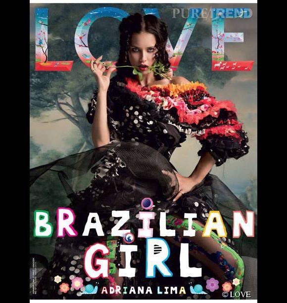 Adriana Lima en couverture de LOVE en juillet 2014.