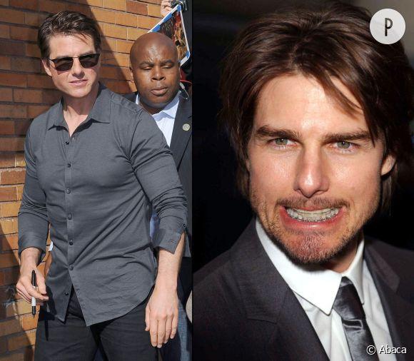 """Tom Cruise a dû oublier que des photographes se trouvaient dans les parages. Sinon, pourquoi aurait-il osé montrer ses affreuses bagues lors de l'avant-première de """"Minority Report"""" en 2002 ?"""