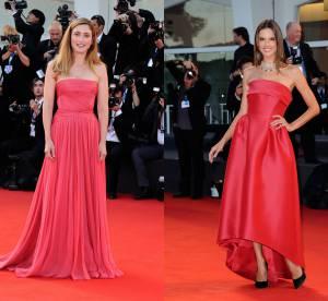 Julie Gayet vs Alessandra Ambrosio : la robe bustier romantique de la Mostra