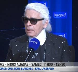 Karl Lagerfeld au micro de Nikos Aliagas ce samedi 20 septembre 2014.