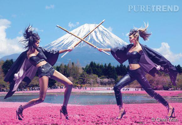 Campagne Guess au pays du Soleil levant avec Megan Williams et Karmay Ngai.
