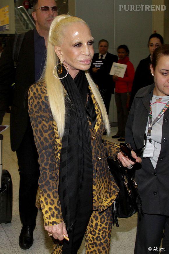Donatella Versace à son arrivée à Sao Paulo le 4 novembre 2014.