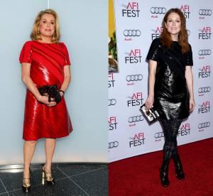 Catherine Deneuve vs Julianne Moore : la petite robe en cuir Louis Vuitton