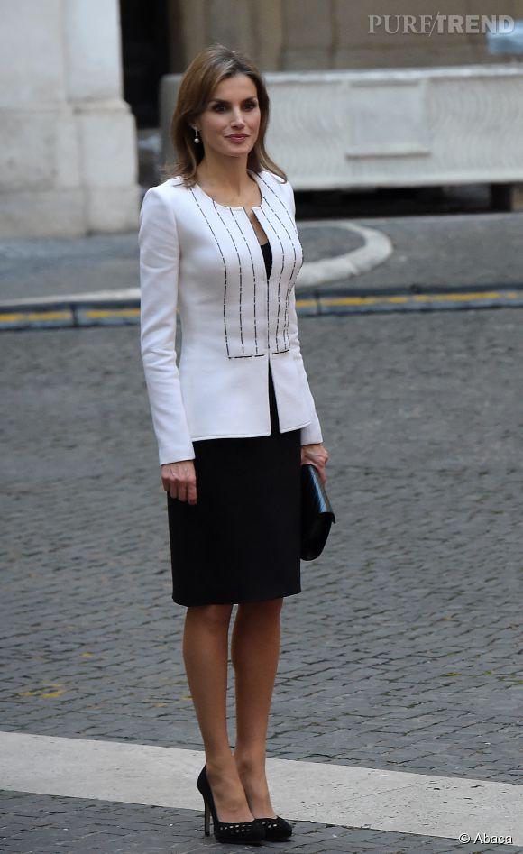 Letizia d'Espagne, look au top dans la tendance black & white !