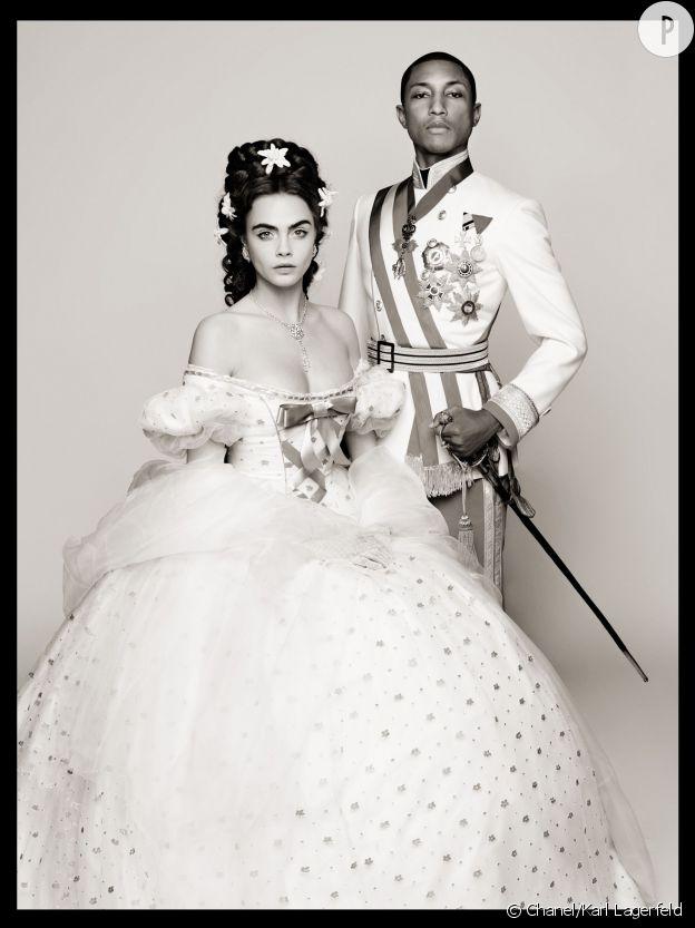 """Pharrell Williams et Cara Delevingne, le nouveau couple impérial de Chanel dans """"Reincarnation"""" de Karl Lagerfeld."""