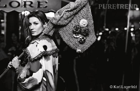 Gisèle Bünchen, égérie mutine de la collection printemps 2015 de Chanel.