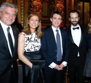 Natalie Portman et Benjamin Millepied aux côtés du Premier ministre Manuel Valls et son épouse Anne Gravoin, ce lundi 12 janvier 2015 à l'Opéra Garnier.