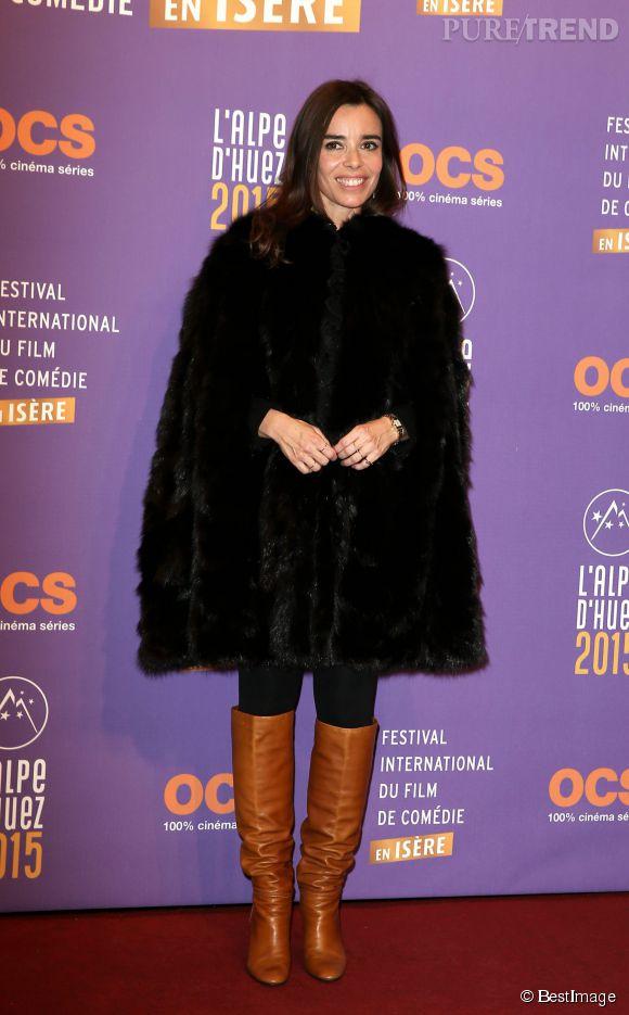 Elodie Bouchez, couverte de fourrure pour le festival de l'Alpe d'Huez 2015.