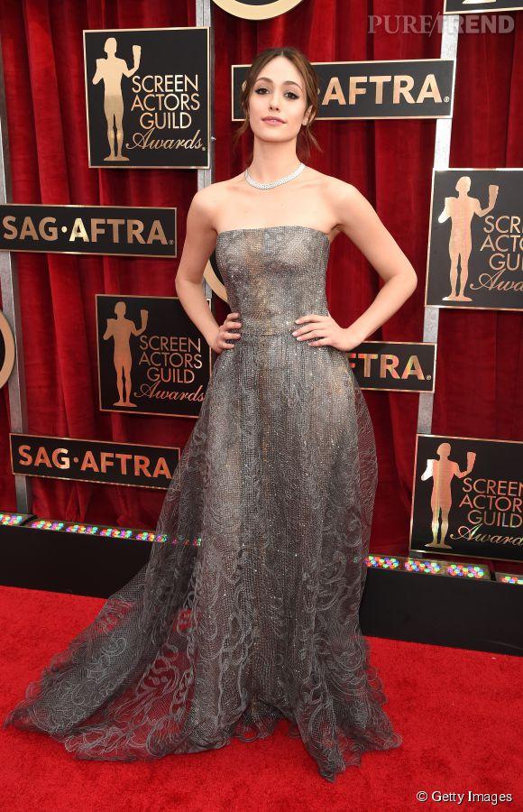 Emmy Rossum en Armani Privé lors des SAG Awards 2015 organisés à Los Angeles le 25 janvier 2015.
