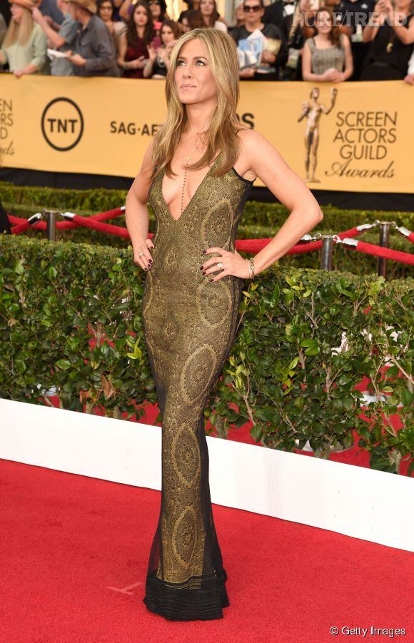 Jennifer Aniston en John Galliano vintage lors des SAG Awards 2015 organisés à Los Angeles le 25 janvier 2015.