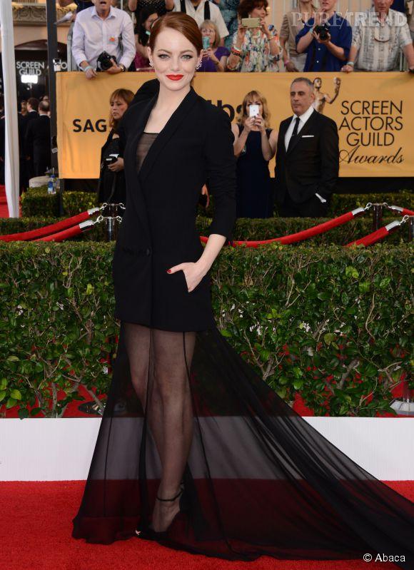 Emma Stone en Christian Dior Couture aralors des SAG Awards 2015 organisés à Los Angeles le 25 janvier 2015.