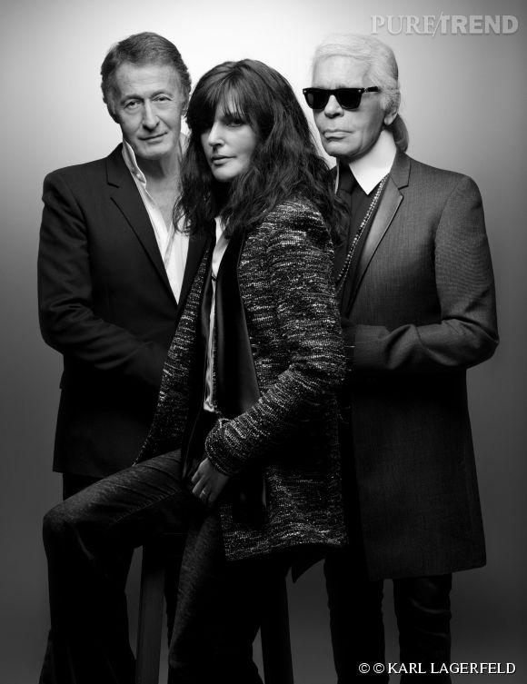 Éric Pfrunder, Virginie Viard et Karl Lagerfeld, le jury de ce Festival de Hyères 2015.