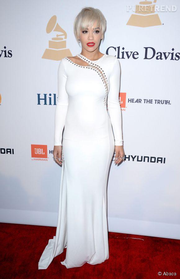 Rita Ora à la soirée pré-Grammy de Clive Davis, le 7 février 2015 au Beverly Hilton Hotel de Los Angeles.
