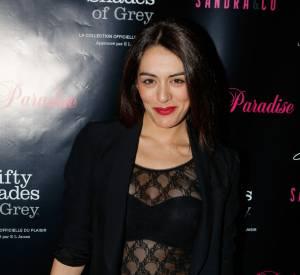 Sofia Essaïdi en top transparent le soir de la Saint-Valentin.