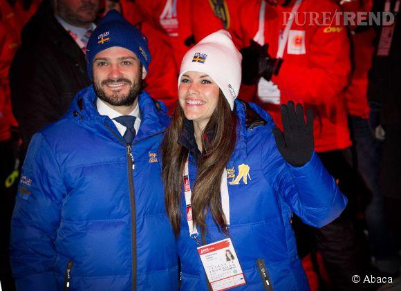 Carl Philipp et Sofia Hellqvist, coouple complice à la cérémonie d'ouverture des Mondiaux de ski le 18 février en Suède.